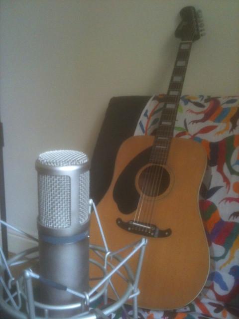 home studio shot - mic and guitar